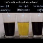 歩きながら飲むならビールが一番こぼれにくい!その理由は!?