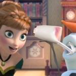 アナと雪の女王で大爆笑できるとは!オラフの口から出るソフトクリームを食べるアナとエルサ!
