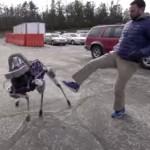 4本足の倒れないロボットに新型登場!今回もやっぱり蹴られる(笑)!