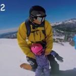 2才の女の子がスノーボードでトリックを決める!お父さん頑張った!