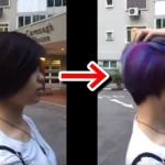 隠された髪の色!髪をかきあげるとレインボー!