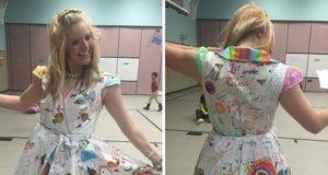 教師の服は記念のドレス!ワンピースに生徒の寄せ書きが!